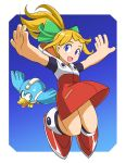 1girl atonamu beak beat_(rockman) bird blonde_hair blue_eyes bow capcom child flying full_body green_bow hair_bow hair_ornament high_ponytail highres hood hoodie hoodie_dress jumping long_hair looking_to_the_side mechanical_bird open_mouth outstretched_arms ponytail rockman rockman_(classic) rockman_11 roll smile