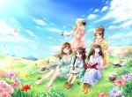5girls aiba_yumi black_hair blonde_hair blue_eyes blue_sky book boots bow brown_eyes brown_footwear brown_hair clouds commentary_request day dress earrings epaulettes field flower frilled_dress frills grass hair_bow hair_bun hair_flower hair_ornament hairband half_updo hat hat_removed head_wreath headwear_removed holding holding_book idolmaster idolmaster_cinderella_girls idolmaster_cinderella_girls_starlight_stage jacket jacket_on_shoulders jewelry long_hair long_skirt long_sleeves looking_at_another meadow multiple_girls necklace nitta_minami one_eye_closed open_mouth outdoors peaked_cap pendant petals plaid_shawl purple_bow sagisawa_fumika seizon_honnou_valkyria shawl short_hair sidelocks sitting skirt sky smile sunlight sweater tachibana_arisu takamori_aiko twitter_username uniform vesta_(delaurant02)