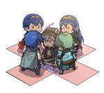 alm_(fire_emblem) armor artist_request blue_hair chibi dark_persona evil_smile falchion_(fire_emblem) fire_emblem fire_emblem:_kakusei fire_emblem:_monshou_no_nazo fire_emblem_echoes:_mou_hitori_no_eiyuuou fire_emblem_heroes gimurei gloves green_hair highres krom long_hair lucina male_my_unit_(fire_emblem:_kakusei) mamkute marth my_unit_(fire_emblem:_kakusei) red_eyes robe short_hair smile weapon white_hair