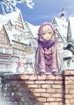 1girl :d arm_support blue_sky day eyebrows_visible_through_hair gloves hair_between_eyes hat highres kei_(k_tmr) latina_(uchi_no_musume_no_tame_naraba) long_hair looking_at_viewer open_mouth outdoors purple_coat purple_gloves purple_hat purple_scarf road scarf silver_hair sky smile snow snowman solo standing street uchi_no_musume_no_tame_naraba_ore_wa_moshikashitara_maou_mo_taoseru_kamo_shirenai. very_long_hair violet_eyes winter