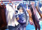 1girl :d animal_ears black_gloves black_hair black_skirt blue_sky blurry bow bowtie clothes_hanger clothes_pin common_raccoon_(kemono_friends) day depth_of_field fur_collar gloves grey_hair holding holding_towel kemono_friends laundry laundry_pole looking_at_viewer miniskirt multicolored_hair noah_(noxxxmo) open_mouth outdoors panties pink_sweater pleated_skirt print_legwear raccoon_ears raccoon_tail serval_print skirt sky smile solo sweater tail towel underwear white_hair