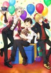 3boys ^_^ balloon birthday black_hair blonde_hair blue_eyes bouquet bowl closed_eyes confetti dog epaulettes flower food gift green_eyes highres hood hoodie katsudon_(food) katsuki_yuuri male_focus multiple_boys open_mouth silver_hair sitting smile tray twc_(p-towaco) vicchan viktor_nikiforov yuri!!!_on_ice yuri_plisetsky