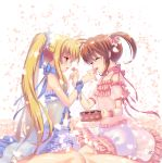 2girls armlet artist_name babydoll blonde_hair bloomers brown_hair chemise chocolate choker commentary_request eyebrows_visible_through_hair facing_another fate_testarossa feeding frills from_side fundoshi_inao heart long_hair looking_at_another lyrical_nanoha mahou_shoujo_lyrical_nanoha multiple_girls open_mouth parted_lips petals red_eyes ribbon scrunchie see-through short_twintails sidelocks signature sitting smile takamachi_nanoha twintails underwear wariza wristband yuri