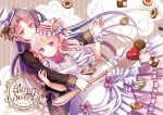 1girl 2018 androgynous bangs black_hair bow cake_hair_ornament checkerboard_cookie chocolate coffee coffee_cup comitia cookie dress flower food food_themed_hair_ornament fork frills graphite_(medium) hair_bow hair_ornament hand_holding long_hair looking_at_viewer mechanical_pencil original oversized_object parted_bangs pencil pink_dress pink_flower pink_hair pink_rose plastic_moon rose smile spoon traditional_media violet_eyes wrist_cuffs