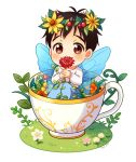 1boy black_hair brown_eyes child cup fairy_wings flower head_wreath in_container in_cup katsuki_yuuri male_focus plant sitting teacup twc_(p-towaco) twitter_username vines wings younger yuri!!!_on_ice