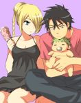 1girl 2boys baby baby_be'el beelzebub_(manga) black_dress black_eyes black_hair blonde_hair blue_eyes dress drooling green_hair hair_bun hair_over_one_eye harumi_chihiro hilda_(beelzebub) holding holding_baby indian_style long_hair looking_at_another multiple_boys nightgown oga_tatsumi pink_shirt saliva shirt sitting t-shirt
