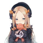 1girl abigail_williams_(fate/grand_order) bangs black_bow black_dress black_hat blonde_hair blue_eyes blush bow commentary_request dress fate/grand_order fate_(series) fedora forehead frilled_sleeves frills hair_bow hat highres holding leon_v long_hair long_sleeves looking_at_viewer orange_bow parted_bangs polka_dot polka_dot_bow puffy_long_sleeves puffy_sleeves simple_background sleeves_past_wrists solo stuffed_animal stuffed_toy teddy_bear upper_body white_background