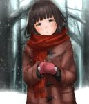1girl black_hair black_sweater blush brown_eyes cape closed_mouth coat coffee forest hatsuyuki_(kantai_collection) highres kantai_collection long_hair looking_at_viewer mittens nature pink_mittens red_scarf remodel_(kantai_collection) scarf snow snowing solo sweater tama_(seiga46239239) tree