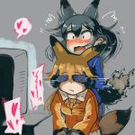 2girls animal_ears blush covering_another's_eyes ezo_red_fox_(kemono_friends) fox_ears fox_tail heart implied_pornography kemono_friends mcgunngu multiple_girls silver_fox_(kemono_friends) tail television