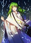 androgynous black_background blank_eyes electricity enkidu_(fate/strange_fake) fate/grand_order fate_(series) gradient gradient_background green_eyes green_hair grey_background highres long_hair looking_at_viewer luozhou_pile standing