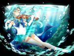 1girl aqua_footwear aqua_hair aqua_skirt bangs bare_legs bishoujo_senshi_sailor_moon blue_bow bow brooch bubble choker circlet closed_eyes closed_mouth full_body gloves instrument jewelry kaiou_michiru long_hair magical_girl music parted_bangs playing_instrument pleated_skirt sailor_collar sailor_neptune sailor_senshi_uniform shirataki_kaiseki shoes signature skirt smile solo super_sailor_neptune underwater violin water white_gloves