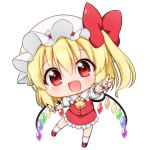 1girl :d arm_up bangs blonde_hair blush bow chibi cravat crystal eyebrows_visible_through_hair fang flandre_scarlet frilled_shirt_collar frilled_skirt frilled_sleeves frills full_body hair_between_eyes hat hat_bow hat_ribbon head_tilt kneehighs looking_at_viewer mary_janes medium_hair mob_cap open_mouth outstretched_arm puffy_short_sleeves puffy_sleeves red_bow red_eyes red_footwear red_ribbon red_skirt red_vest ribbon shiny shiny_hair shirt shoes short_sleeves side_ponytail simple_background skirt skirt_set smile solo standing standing_on_one_leg suwa_yasai touhou v vest white_background white_hat white_legwear white_shirt wings wrist_cuffs yellow_neckwear