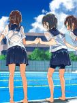 3girls :d back_cutout bare_legs barefoot black_hair blue-framed_eyewear blue_sailor_collar blue_skirt blue_sky blush brown_hair building clouds copyright_request day dripping from_behind glasses hand_holding highres kusakabe_(kusakabeworks) multiple_girls open_mouth pleated_skirt pool pool_ladder poolside round_teeth sailor_collar school see-through shiny shiny_skin shirt short_hair short_sleeves short_twintails skirt sky smile standing swimsuit swimsuit_under_clothes teeth twintails water water_drop wet wet_clothes wet_shirt white_shirt