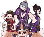 animal_costume animal_ears animal_print armor bangs blush breasts cat_ears closed_eyes collarbone cosplay curly_hair eyepatch fingerless_gloves glasses gloves hana_(xenoblade) hana_jk hat homura_(xenoblade_2) homura_(xenoblade_2)_(cosplay) jacket jewelry kagutsuchi_(xenoblade) long_hair looking_at_viewer madanai_(morisumeshi) maid meleph_(xenoblade) military niyah nopon opaque_glasses open_mouth pointy_ears rex_(xenoblade_2) saika_(xenoblade) short_hair sieg_b_goku_genbu silver_hair simple_background smile tiger_costume tiger_print tora_(xenoblade) uniform xenoblade xenoblade_2 yellow_eyes