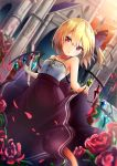 1girl alternate_costume bare_arms bare_shoulders black_ribbon black_skirt blonde_hair breasts building collarbone commentary_request dutch_angle eyebrows_visible_through_hair flandre_scarlet flower hair_between_eyes hair_ribbon highres lifted_by_self looking_at_viewer no_hat no_headwear orange_sky parted_lips petals red_eyes red_flower red_rose renka_(cloudsaikou) ribbon rose short_hair side_ponytail skirt skirt_lift sky slit_pupils small_breasts solo spaghetti_strap touhou wings