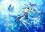 1girl anklet aqua aqua_eyes aqua_hair barefoot bikini_top blue_skirt breasts bubble closed_mouth commentary commentary_request day expressionless fish_tail hair_ornament highres jewelry legs long_hair long_skirt midriff navel ningyo_hime_(sinoalice) signature sinoalice skirt small_breasts solo sunlight twintails underwater very_long_hair wariko white_skin