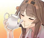 1girl brown_hair closed_eyes commentary_request kantai_collection kongou_(kantai_collection) misumi_(niku-kyu) smile solo tea teapot you're_doing_it_wrong