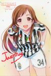 1girl adidas artist_name brown_eyes brown_hair character_name highres idolmaster idolmaster_cinderella_girls inoue_sora italian_flag juventus_fc leaning_forward long_hair looking_at_viewer nitta_minami open_mouth scan short_sleeves smile soccer_uniform solo sportswear striped text vertical_stripes wristband