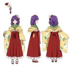 1girl bangs blunt_bangs character_sheet closed_mouth eyebrows_visible_through_hair floral_print flower from_behind from_side full_body hair_flower hair_ornament hakama_skirt haori hieda_no_akyuu japanese_clothes karaori kimono long_sleeves looking_at_viewer multiple_views profile purple_hair short_hair simple_background sleeves_past_wrists smile standing touhou violet_eyes white_background wide_sleeves zouri