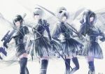 4girls commentary commentary_request highres multiple_girls wariko yorha_no._2_type_b