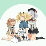 3girls :d annin_musou beret black_hat black_legwear black_miniskirt black_skirt blonde_hair blue_eyes breast_pocket brown_eyes buttons commentary_request epaulettes frilled_sleeves frills full_body gambier_bay_(kantai_collection) gloves green_jacket hair_between_eyes hairband hairstyle_connection hat highres i-26_(kantai_collection) jacket kantai_collection kashima_(kantai_collection) kerchief kneehighs light_brown_eyes light_brown_hair long_hair long_sleeves military military_jacket military_uniform multicolored multicolored_clothes multicolored_gloves multiple_girls neckerchief new_school_swimsuit open_mouth pleated_skirt pocket red_neckwear school_swimsuit short_hair short_sleeves sidelocks silver_hair skirt smile swimsuit thigh-highs trait_connection twintails two-tone_hairband two_side_up uniform wavy_hair white_jacket white_legwear