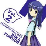 1girl artist_request blue_hair bowtie furude_rika higurashi_no_naku_koro_ni itou_noiji_(style) looking_at_viewer parody purple_eyes solo source_request suzumiya_haruhi_no_yuuutsu