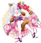 1girl ;d ahoge alternate_costume animal_ears blue_hair floral_print flower full_body furisode hair_flower hair_ornament japanese_clothes kimono long_hair looking_at_viewer nonno official_art one_eye_closed open_mouth paw_mittens smile solo tail tail_censor thigh-highs tokinon violet_eyes white_legwear x-overd