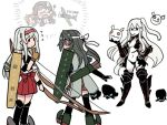 >_< 5girls aircraft aircraft_carrier_hime airplane armor armored_boots black_panties boots bow_(weapon) chiyoda_(kantai_collection) commentary_request elbow_gloves enemy_aircraft_(kantai_collection) flight_deck flying_sweatdrops from_behind gloves grey_hair hairband hakama_skirt hand_on_hip kagerou_(kantai_collection) kantai_collection long_hair multiple_girls muneate navel o_o panties partly_fingerless_gloves quiver shinkaisei-kan shoukaku_(kantai_collection) side_ponytail simple_background skirt standing terrajin thigh-highs torn_clothes underwear weapon white_background white_hair white_skirt yugake zuikaku_(kantai_collection)