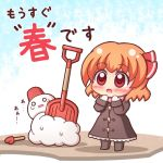 1girl :o blush brown_coat brown_footwear chibi coat commentary_request eyebrows_visible_through_hair full_body grouse01 hair_ribbon mittens orange_hair pink_scarf red_eyes red_ribbon ribbon rumia scarf short_hair shovel snowman solo standing touhou translation_request winter_clothes worktool