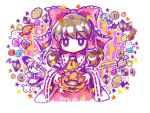 2girls apron ascot bangs bat black_dress blonde_hair bow brown_eyes brown_hair buttons candy cookie dated detached_sleeves dress english expressionless eyebrows_visible_through_hair eyebrows_visible_through_hat food frilled_dress frills ghost hair_between_eyes hair_bow hair_tubes hakurei_reimu halloween hat hat_bow heart highres holding jack-o'-lantern japanese_clothes kirisame_marisa lollipop long_hair looking_at_viewer miko multiple_girls pumpkin red_bow ribbon-trimmed_sleeves ribbon_trim smile socha star touhou v waist_apron white_bow wide_sleeves witch_hat