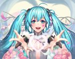 1girl 39 :d ahoge aqua_eyes aqua_hair blurry bridal_gauntlets depth_of_field flower hatsune_miku heart highres long_hair looking_at_viewer miku_append moonandmist open_mouth outstretched_arms petals smile solo twintails upper_body vocaloid vocaloid_append