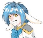 1girl animal_ears blue_hair galaxy_angel mint_blancmanche open_mouth radium_(artist) short_hair smile solo yellow_eyes