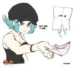 1girl bare_arms blue_eyes blue_hair breasts brekkist cabbie_hat cleavage covered_navel english hat letter love_letter medium_breasts npc poke_ball pokemon pokemon_(game) pokemon_usum proposal reaching_out short_twintails simple_background tank_top team_rainbow_rocket_grunt team_rocket text twintails white_background
