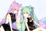 2girls animal_ears green_eyes green_hair hair_ribbon hatsune_miku highres long_hair megurine_luka misora_suzu multiple_girls pink_eyes pink_hair ribbon sitting twintails very_long_hair vocaloid