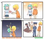 >_< 2girls 3boys :d absurdres artist_name bangs beard black_belt black_footwear blonde_hair blue_footwear blue_hair blue_hat blue_pants blue_shirt blue_skirt blush breasts brown_hair brown_pants brown_robe brown_shirt closed_eyes closed_mouth club collared_shirt comic commentary_request cuffs drawstring earth-chan envelope eyebrows_visible_through_hair facial_hair fire god green_hair greenteaneko hair_between_eyes halo hand_holding hand_in_pocket handcuffs hands_on_another's_shoulders hat heart hetero highres holding holding_envelope hood hood_down hoodie kiss kneehighs kneeling large_breasts letter long_sleeves love_letter multicolored_hair multiple_boys multiple_girls muscle night night_sky nose_blush open_mouth orange_hoodie original pants peaked_cap personification pleated_skirt pointy_ears police police_hat police_uniform policeman policewoman print_legwear robe shirt shoes short_hair short_sleeves silent_comic skirt sky sleeves_pushed_up smile smoke standing star_(sky) starry_sky sweater_vest taut_clothes taut_shirt thigh-highs uniform upper_teeth veins watermark weapon web_address white_hair white_legwear |_|