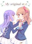 2girls absurdres aikatsu! bangs blue_jacket blue_ribbon blush brown_eyes closed_mouth commentary_request eyebrows_visible_through_hair fingernails hair_ribbon hand_holding hand_on_another's_waist highres hikami_sumire interlocked_fingers jacket light_brown_hair looking_at_viewer makiaato multiple_girls nail_polish oozora_akari parted_lips pink_nails pleated_skirt purple_hair ribbon school_uniform shirt skirt smile starlight_academy_uniform violet_eyes white_background white_shirt white_skirt yuri