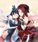 2girls angel_wings bare_shoulders blue_hair dress elbow_gloves feathers gloves hair_bun hair_ornament hand_holding hi-ho- highres jewelry love_live! love_live!_sunshine!! multiple_girls necklace one_eye_closed red_eyes redhead sakurauchi_riko thigh-highs tsushima_yoshiko wings yellow_eyes yuri