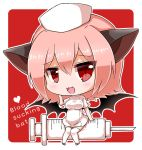 1girl :3 :d animal_ears bangs bat_ears bat_wings black_wings blush breasts chibi commentary_request dress eyebrows_visible_through_hair fang hair_between_eyes hat heart looking_at_viewer medium_breasts noai_nioshi nurse open_mouth original personification pink_hair red_eyes short_sleeves sidelocks sitting smile solo syringe thigh-highs white_dress white_footwear white_hat white_legwear wings