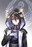 1boy bangs black_hair closed_mouth gloves hair_between_eyes hood hood_up hooded_jacket jacket kangetsu_(fhalei) long_sleeves looking_at_viewer male_focus original solo upper_body violet_eyes white_gloves