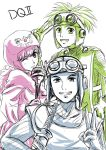 1girl breasts capelet commentary_request dragon_quest dragon_quest_ii dress goggles hood hood_up kiyou_sumomo long_hair multiple_boys prince_of_lorasia prince_of_samantoria princess princess_of_moonbrook robe short_hair smile weapon