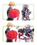 ! 2boys 2koma artist_request blonde_hair bouquet brown_hair comic commentary_request flower formal graham_aker green_eyes gundam gundam_00 gundam_exia heart mecha multiple_boys open_mouth red_eyes scarf setsuna_f_seiei sparkle suit