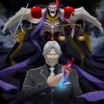 2boys ainz_ooal_gown black_shirt blue_eyes breast_pocket closed_mouth collared_shirt fire grey_hair grey_jacket holding holding_sword holding_weapon jacket jewelry k-ta lich looking_at_viewer multiple_boys necktie necromancer old_man overlord_(maruyama) pocket ring scale sebas_tian shirt skeleton sword weapon white_neckwear wing_collar