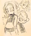 1boy 1girl agent_8 back-to-back crop_top graphite_(medium) highres looking_at_viewer midriff miniskirt mohawk octarian simple_background skirt smile splatoon splatoon_2 takozonesu tentacle_hair traditional_media