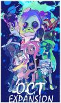 1boy 5girls bandanna beard black_hair chain_necklace commander_atarime dark_skin facial_hair glasses green_hair headphones hime_(splatoon) iida_(splatoon) inkling katou_(osoraku) midriff multiple_girls octarian octocopter octopod octotrooper old_man pink_eyes pink_hair pointy_ears splatoon splatoon_2 squidbeak_splatoon takozonesu tentacle_hair white_hair