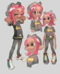 1girl arms_behind_head black_shirt black_shorts bow colo_(nagrolaz) fang hair_bow highres laughing octarian octopus pink_hair shirt shoes shorts sneakers splatoon splatoon_2 takozonesu tentacle_hair violet_eyes