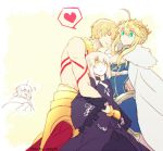 /\/\/\ 1boy 3girls ankai_(rappelzankai) artoria_pendragon_(all) artoria_pendragon_(lancer) blonde_hair braid breasts cape cleavage closed_eyes crown dark_persona fate/grand_order fate/stay_night fate_(series) french_braid fur-trimmed_cape fur_trim gilgamesh girl_sandwich green_eyes heart hug large_breasts multiple_girls saber saber_alter sandwiched shirtless spoken_heart yellow_eyes