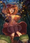 1girl book commentary_request forest formal frills frog gloves hat highres kty_(jarijarikun) magic nature orange_eyes orange_hair original suit wand witch_hat