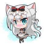 1girl :t animal_ears apron azur_lane bangs black_dress black_legwear blue_eyes blush boots bow cat_ears chibi closed_mouth commentary_request crossed_arms dress eyebrows_visible_through_hair frilled_apron frills full_body grey_footwear hair_between_eyes hair_bow hammann_(azur_lane) long_hair looking_at_viewer noai_nioshi nose_blush pout puffy_short_sleeves puffy_sleeves red_bow short_sleeves silver_hair solo striped striped_bow thigh-highs v-shaped_eyebrows very_long_hair waist_apron white_apron