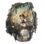 absurdres armor backpack bag hat hat_feather highres jewelry merchant necklace official_art old_man project_octopath_traveler smile square_enix table tressa_(octopath_traveler) yoshida_akihiko