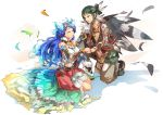 2girls androgynous breasts closed_eyes earrings feathers fire geetgeet gloves hair_feathers headband jewelry kagutsuchi_(xenoblade) long_hair medium_breasts meleph_(xenoblade) multiple_girls pauldrons purple_hair reverse_trap seiken_densetsu seiken_densetsu_2 short_hair smile xenoblade xenoblade_2 yuri